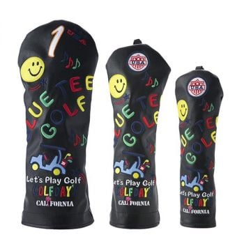 Blue Tee Golf HC-012 Smile and Cart Head Cover Black