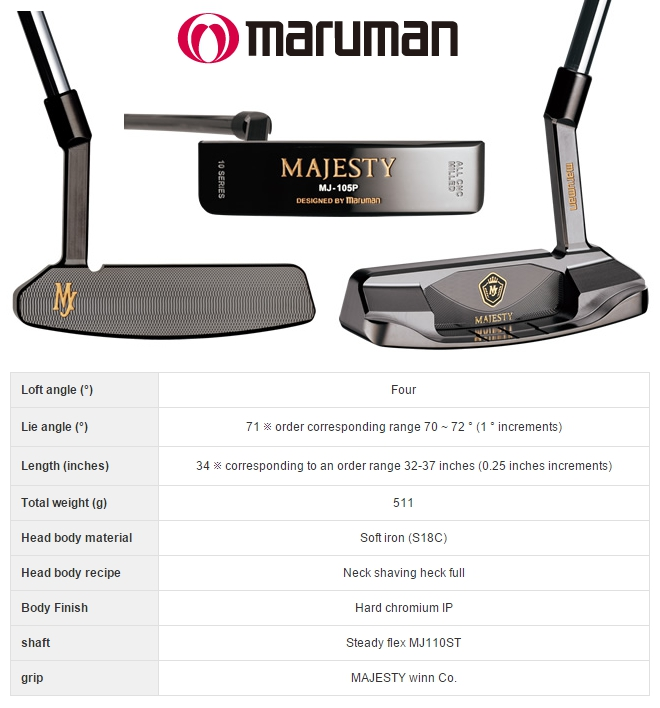 Maruman Majesty 105P Left Handed Putter