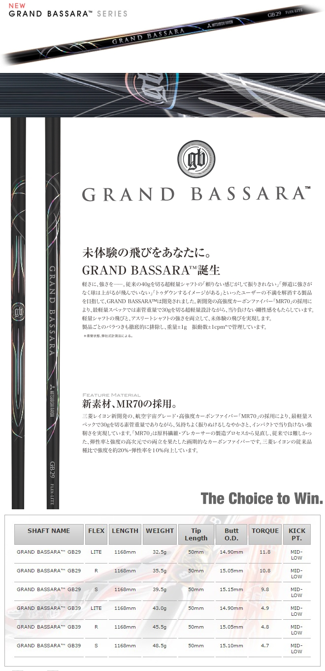 Mitsubishi Rayon Grand Bassara Series Shaft
