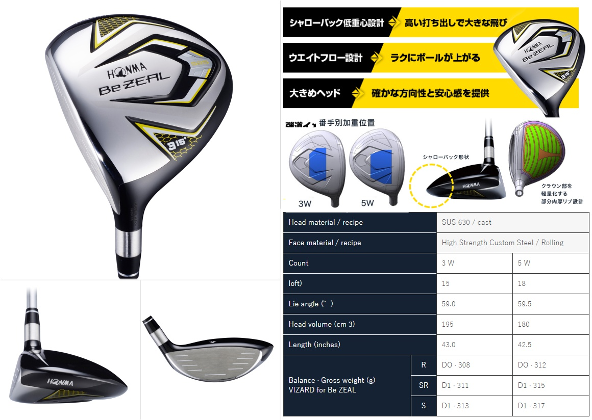 Honma BeZeal 525 Left Handed Fairway Wood
