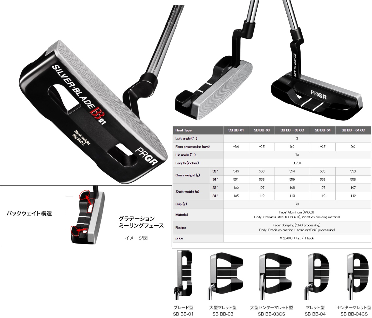 PRGR Silver-Blade BB Putter
