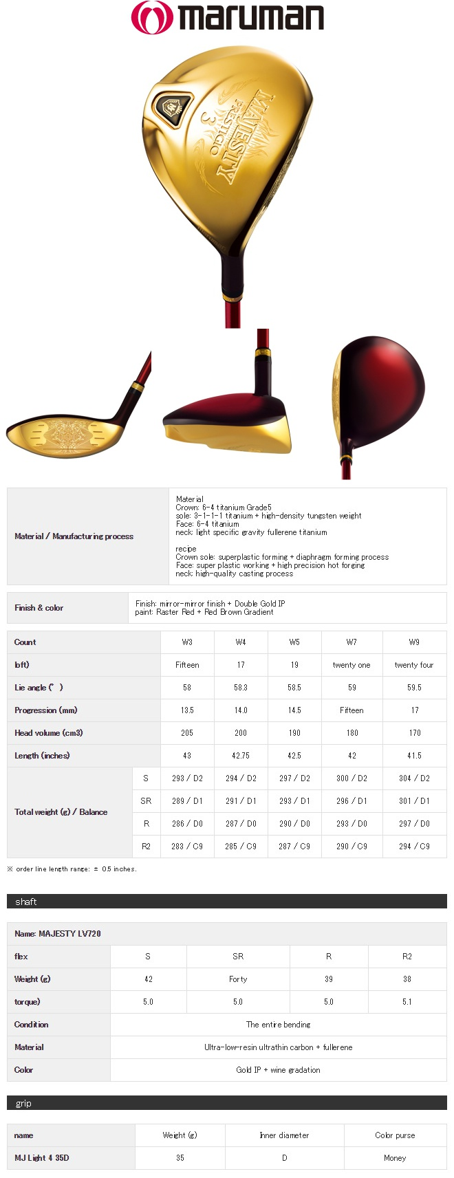 Maruman Majesty Prestigio 9 Fairway Wood