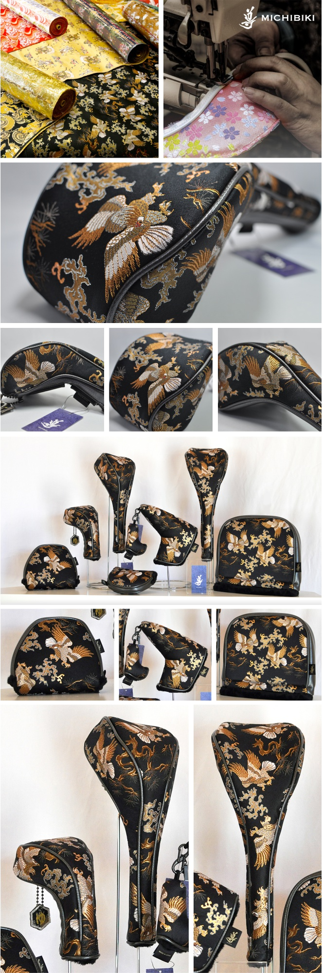 Michibiki Brocade Hawk Black Head Cover