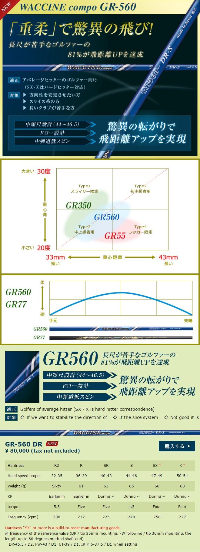 Waccine Compo GR-560 Driver Shaft